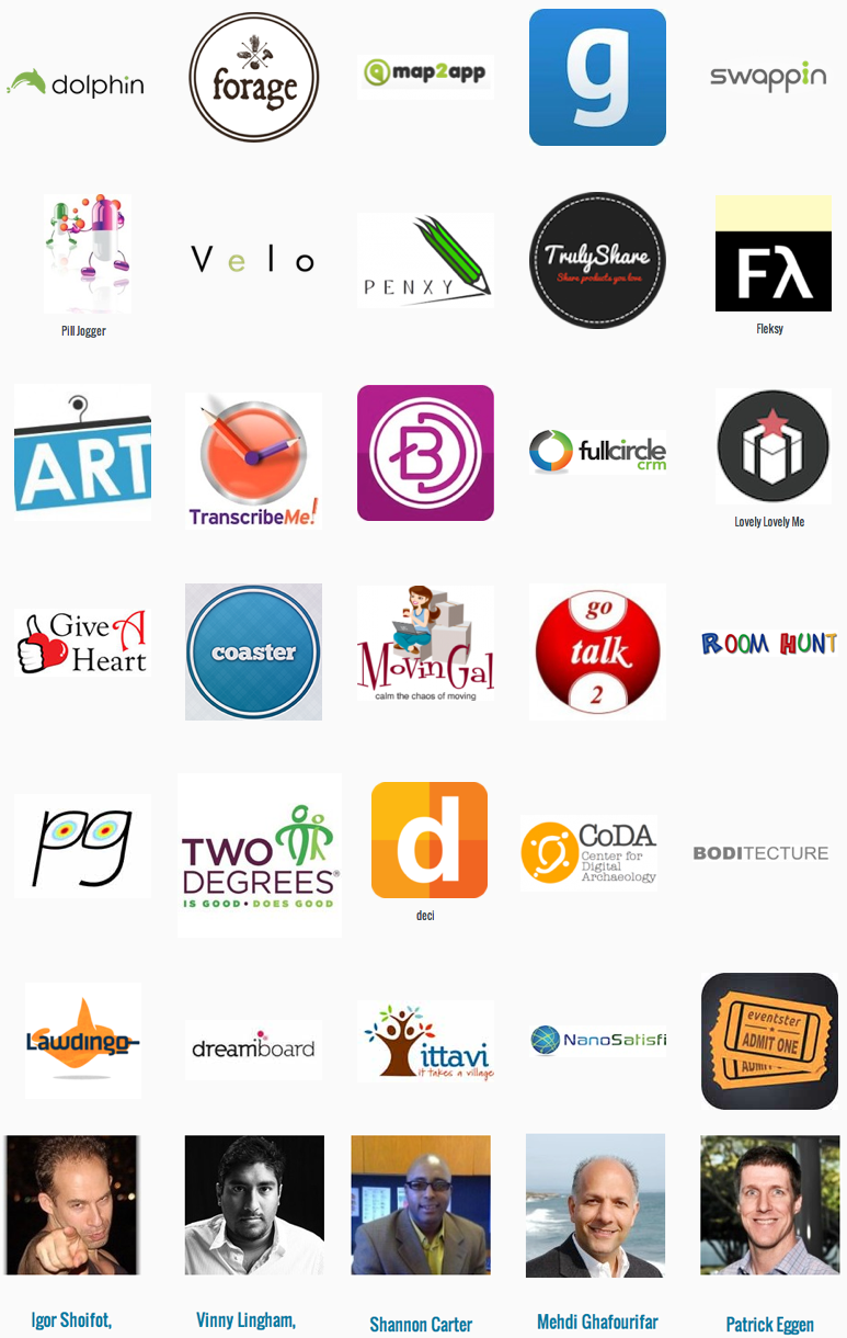 Get Art Up, Two Degree Coda, Flexy, TranscribeMe, MovingGal, GoTalk2, Coda, Ittavi, DreamBoard, Lawdingo, NanoSatisfy, Eventster, GiveAHeart, FullCircleCRM, RoomHunt, Lovely Lovely Me, Better Doctor, Velo, Penxy, Pill Jogger, Truly Share, Coaster